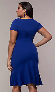 Image of short-sleeve royal blue plus wedding-guest dress. Style: MCR-2494r Back Image