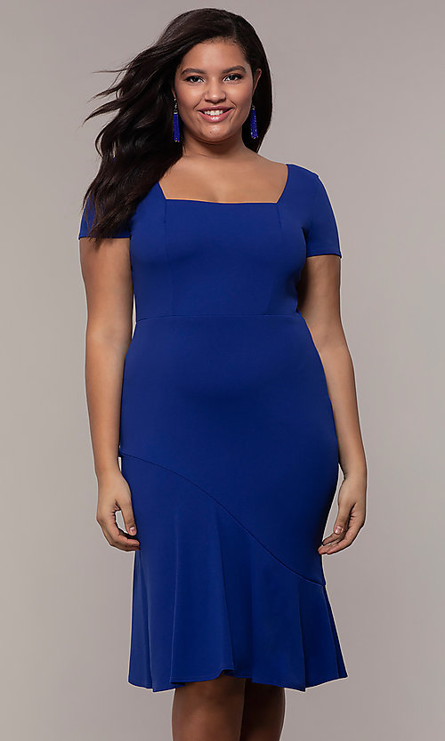 Image of short-sleeve royal blue plus wedding-guest dress. Style: MCR-2494r Front Image