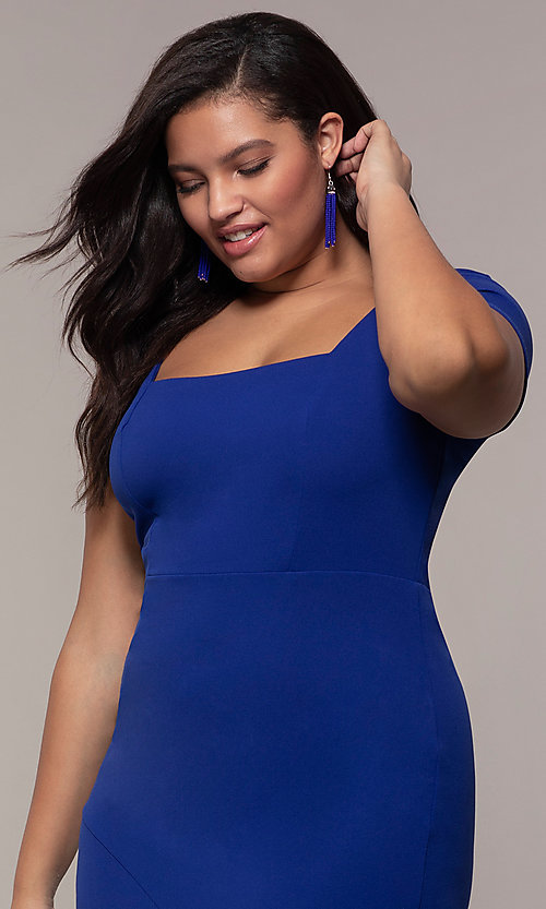 Image of short-sleeve royal blue plus wedding-guest dress. Style: MCR-2494r Detail Image 1
