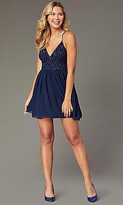 Image of short sequin-bodice homecoming dress by PromGirl. Style: MCR-PL-2600 Detail Image 2