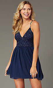 Image of short sequin-bodice homecoming dress by PromGirl. Style: MCR-PL-2600 Front Image