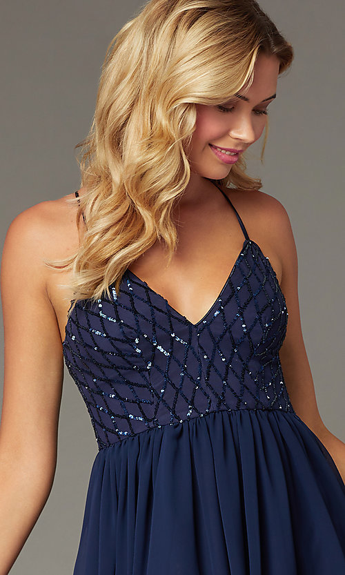 Image of short sequin-bodice homecoming dress by PromGirl. Style: MCR-PL-2600 Detail Image 1