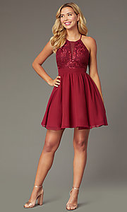 Image of short chiffon burgundy red homecoming party dress. Style: DMO-J324519 Front Image