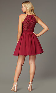 Image of short chiffon burgundy red homecoming party dress. Style: DMO-J324519 Back Image