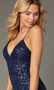 Image of short sequin homecoming party dress by PromGirl. Style: MCR-PL-2458 Detail Image 1