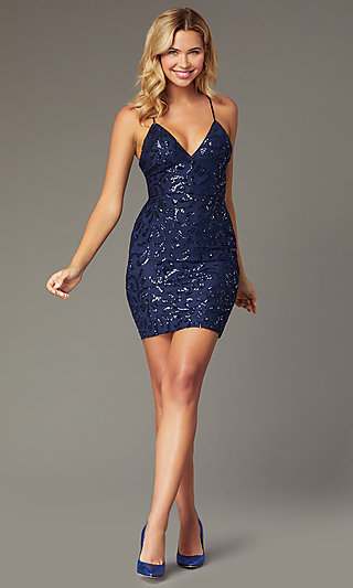 Short Sequin Homecoming Party Dress by PromGirl