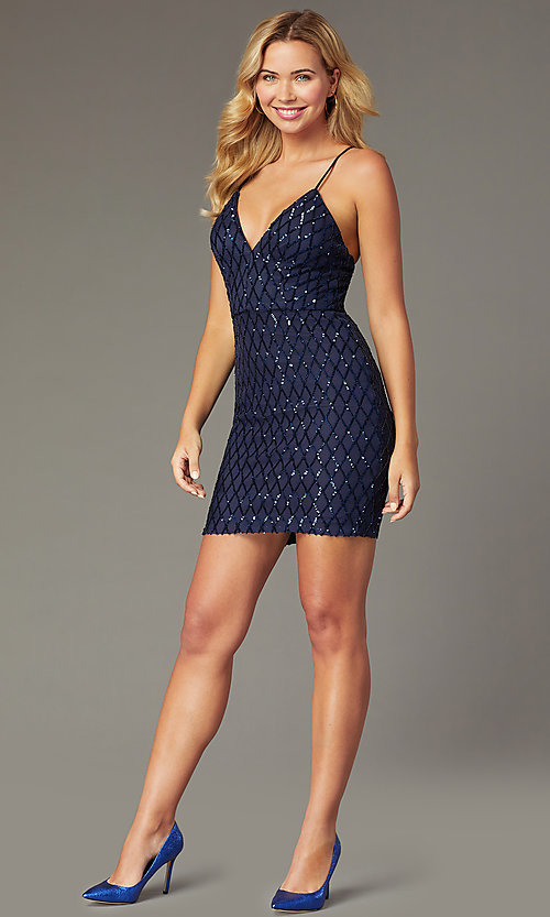 Image of navy short sequined homecoming dress by PromGirl. Style: MCR-PL-2545N Front Image