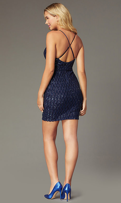 Image of navy short sequined homecoming dress by PromGirl. Style: MCR-PL-2545N Back Image