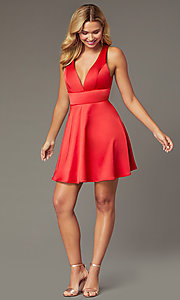 Image of short a-line homecoming red dress by PromGirl. Style: MCR-PL-2490 Detail Image 1