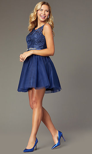 54451385fe6b Short Embroidered-Bodice Navy Homecoming Dress. Share