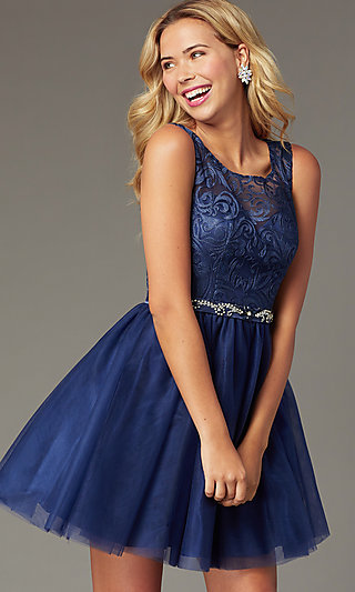 Short Embroidered-Bodice Navy Homecoming Dress