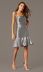 Image of silver knee-length metallic wedding-guest dress. Style: MO-21831 Front Image