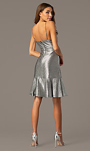 Image of silver knee-length metallic wedding-guest dress. Style: MO-21831 Back Image