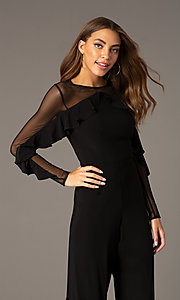 Image of long black party jumpsuit with sheer long sleeves. Style: MO-2308 Detail Image 1