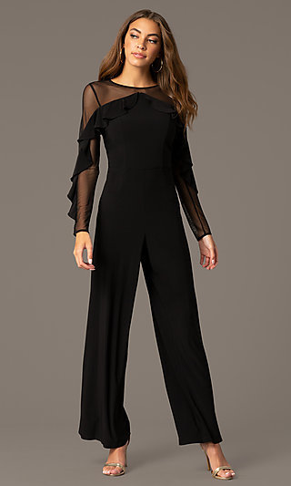 Long Black Party Jumpsuit with Sheer Long Sleeves