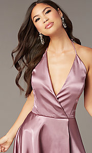 Image of short a-line halter homecoming dress in mauve pink. Style: BN-1447BN Detail Image 1