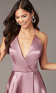 Image of short a-line halter homecoming dress in mauve pink. Style: BN-1447BN Detail Image 2