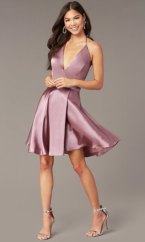 Image of short a-line halter homecoming dress in mauve pink. Style: BN-1447BN Front Image