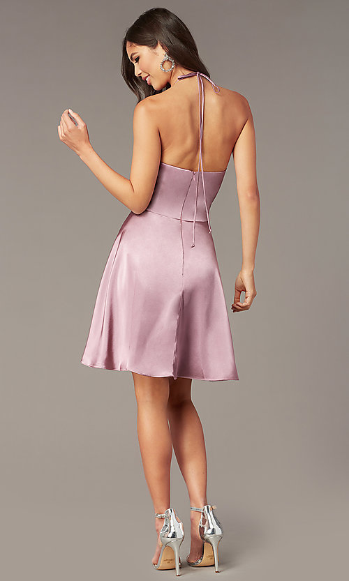 Image of short a-line halter homecoming dress in mauve pink. Style: BN-1447BN Back Image