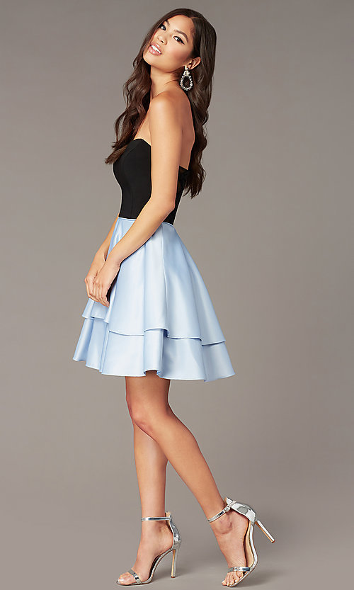 Image of tiered-skirt strapless sweetheart short hoco dress. Style: BN-1494BN Front Image