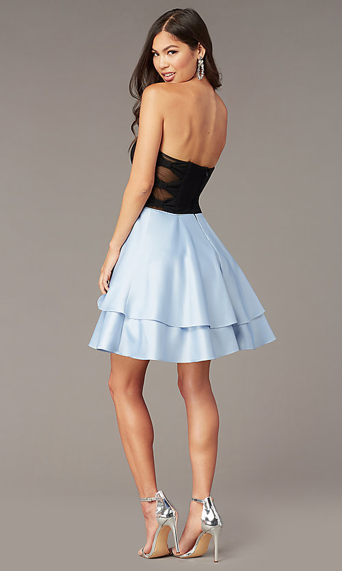 Image of tiered-skirt strapless sweetheart short hoco dress. Style: BN-1494BN Back Image