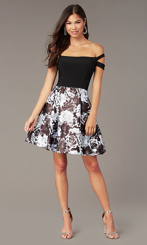 Image of off-the-shoulder short hoco dress with print skirt. Style: BN-1581BN Front Image