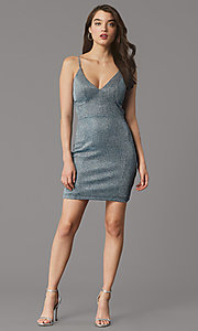 Image of teal and silver short homecoming party dress. Style: MY-6035LT1C Front Image