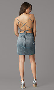 Image of teal and silver short homecoming party dress. Style: MY-6035LT1C Back Image