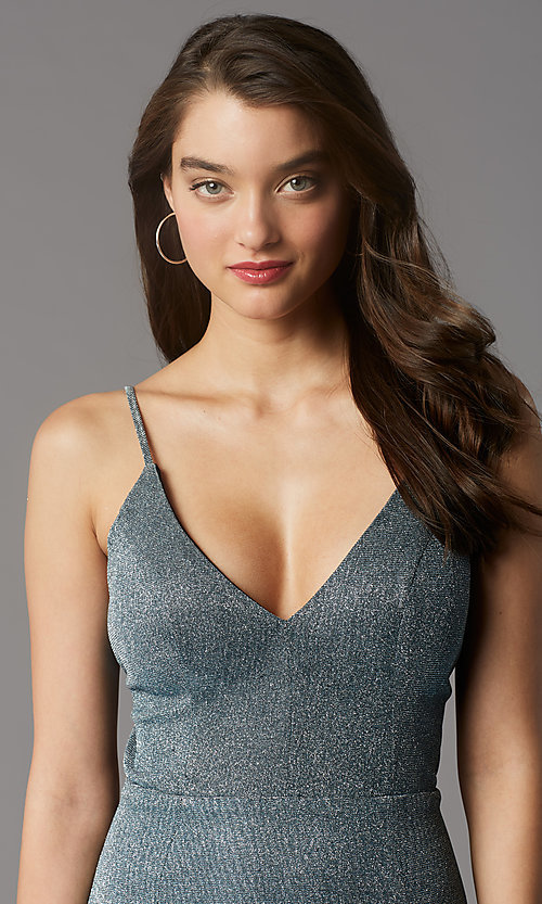 Image of teal and silver short homecoming party dress. Style: MY-6035LT1C Detail Image 1