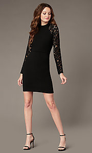 Image of little black party dress with long lace sleeves. Style: MY-6013US1C Front Image