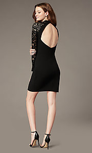 Image of little black party dress with long lace sleeves. Style: MY-6013US1C Back Image