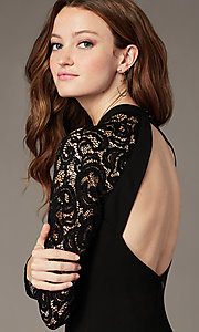 Image of little black party dress with long lace sleeves. Style: MY-6013US1C Detail Image 1