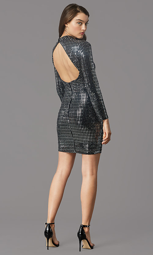Image of long-sleeve short sequin holiday party dress. Style: MY-6010GE1C Back Image
