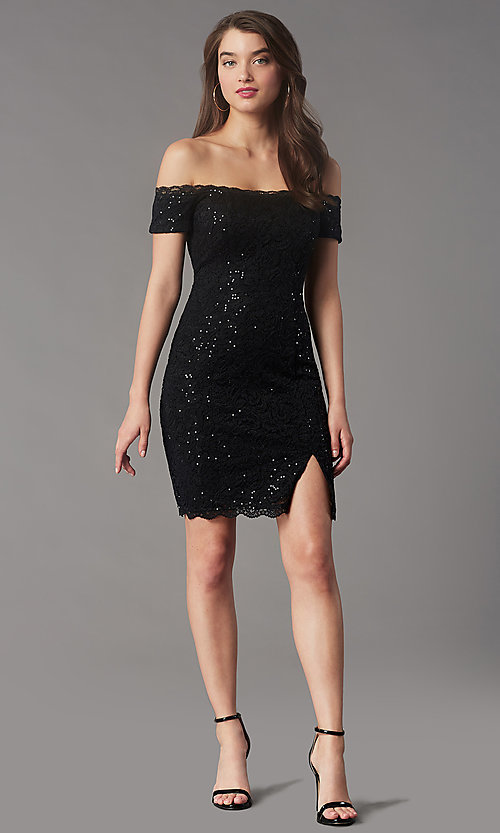 Image of black sequin short off-the-shoulder hoco dress. Style: MY-5811IW1C Front Image