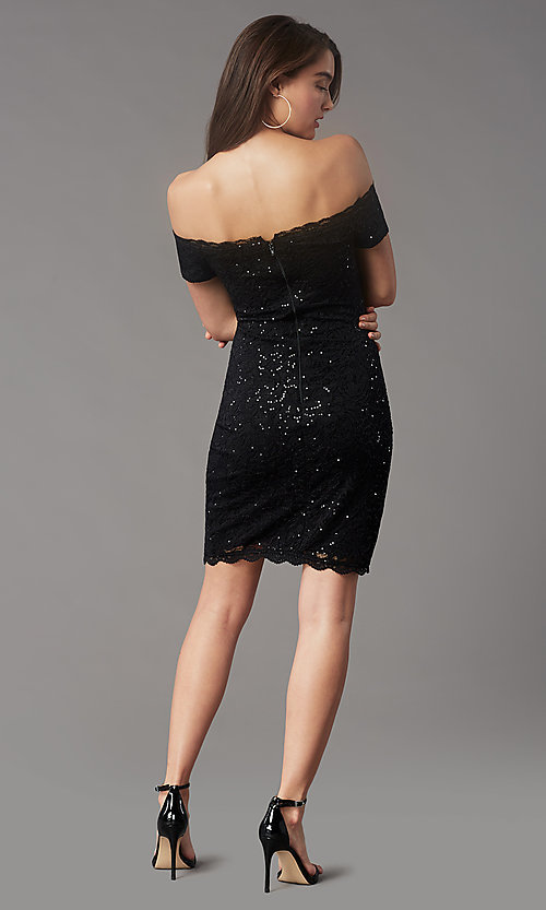 Image of black sequin short off-the-shoulder hoco dress. Style: MY-5811IW1C Back Image