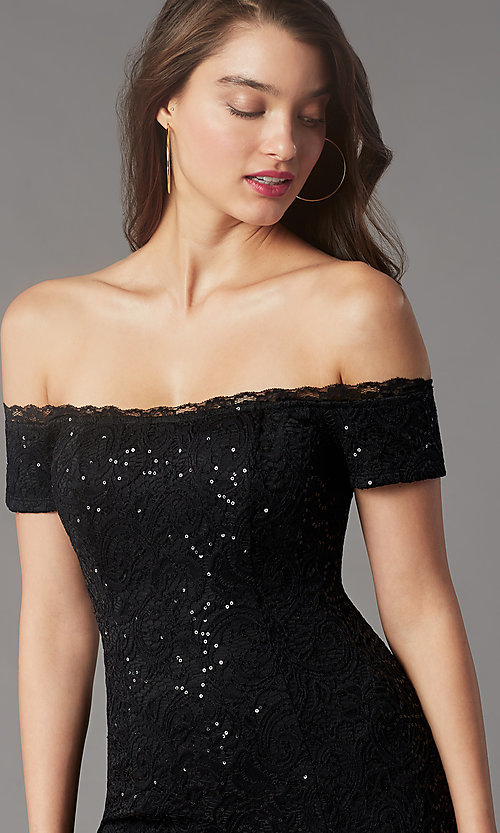 Image of black sequin short off-the-shoulder hoco dress. Style: MY-5811IW1C Detail Image 1