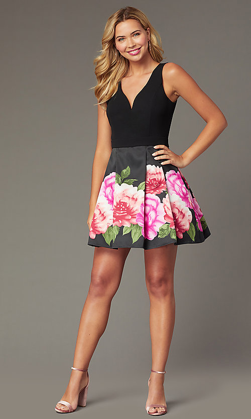 520fca3da6 Image of print-skirt short homecoming dress by PromGirl. Style: MCR-PL