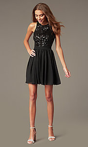 Image of short a-line homecoming dress by PromGirl. Style: MCR-PL-2558 Detail Image 1