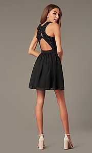Image of short a-line homecoming dress by PromGirl. Style: MCR-PL-2558 Detail Image 2
