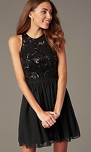 Image of short a-line homecoming dress by PromGirl. Style: MCR-PL-2558 Detail Image 3