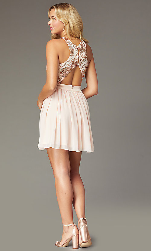 Image of short a-line homecoming dress by PromGirl. Style: MCR-PL-2558 Back Image