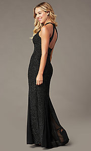 Image of high-neck glitter long mother-of-the-bride dress. Style: MO-21555 Detail Image 3