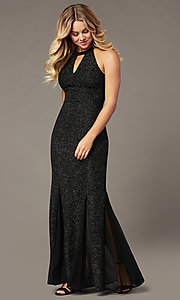 Image of high-neck glitter long mother-of-the-bride dress. Style: MO-21555 Detail Image 2