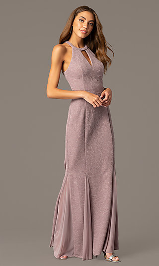 High-Neck Long Glitter Mother-of-the-Bride Dress