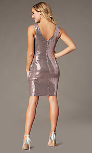 Image of metallic mauve pink short homecoming party dress. Style: MO-21848 Back Image