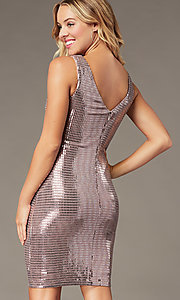 Image of metallic mauve pink short homecoming party dress. Style: MO-21848 Detail Image 1