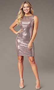 Image of metallic mauve pink short homecoming party dress. Style: MO-21848 Detail Image 2