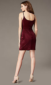 Image of short wine red velvet cowl-neck party dress. Style: MO-12746 Back Image