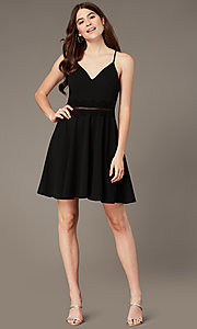 Image of short black homecoming party dress with lace. Style: MY-5879US1C Front Image