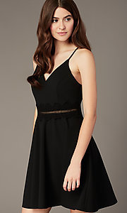 Image of short black homecoming party dress with lace. Style: MY-5879US1C Detail Image 1